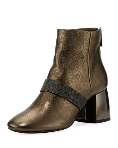 Metallic Zip-Back Block-Heel Bootie