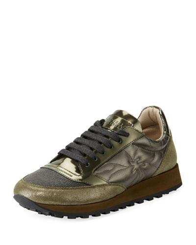 Metallic Lace-Up Platform Trainer Sneaker