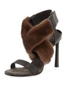 Mink Fur & Monili 100mm Sandal