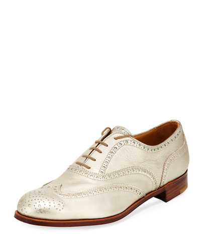 Metallic Leather Wing-Tip Oxford