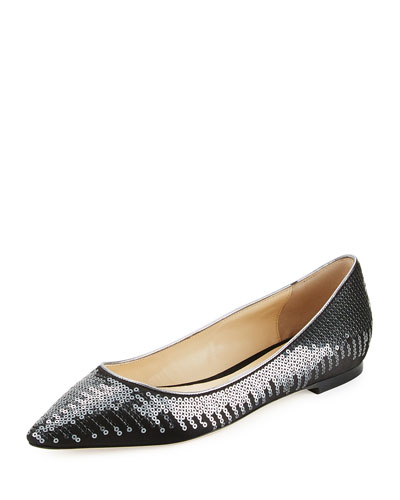 Romy Sequined Ballerina Flat, Black/Gunmetal