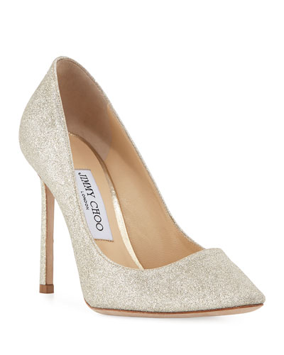 Romy Glittered 100mm Pumps, Silver
