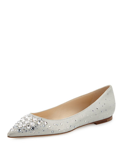 Alina Crystal Suede Flat, White/Crystal