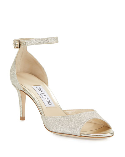 Annie Glitter 65mm Sandals, Platinum Ice