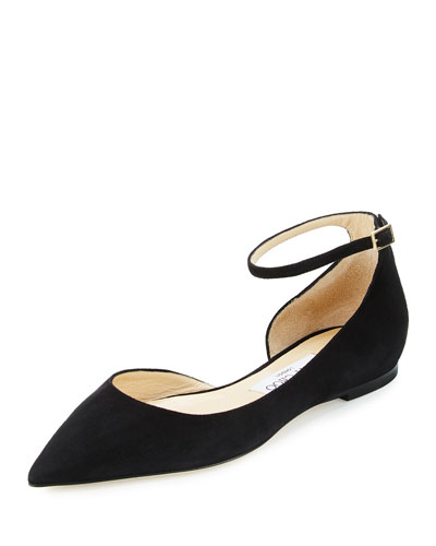 Lucy Suede Half-d'Orsay Flat, Black