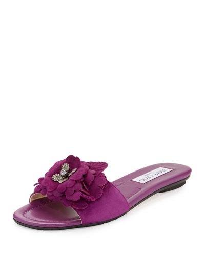 Neave Floral Suede Slide Sandal