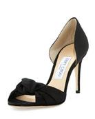 Kitty Knotted Satin 85mm Sandal, Black