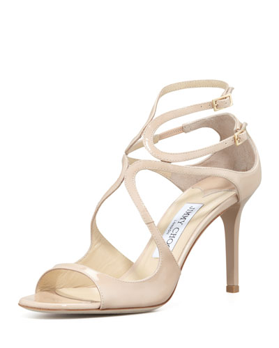 Ivette Strappy Patent Sandals, Nude