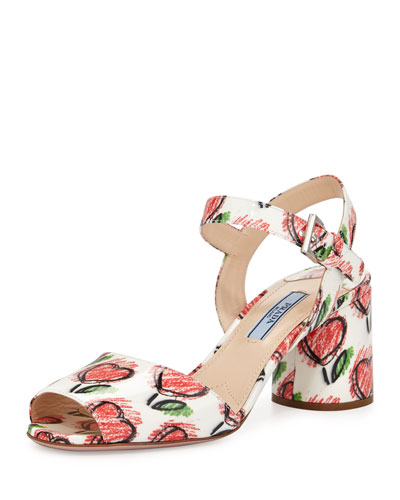 Heart-Print Leather City Sandal