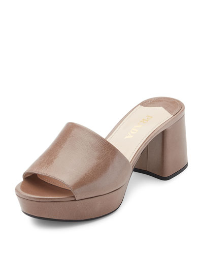 Leather Platform 65mm Mule Sandal, Gray