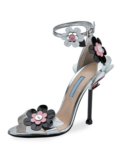 Floral Ankle-Wrap 110mm Sandal, Argento