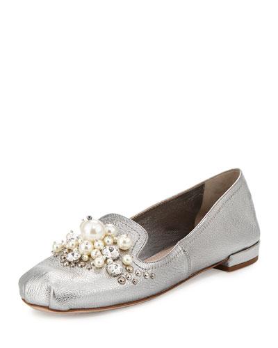 Pearly Jeweled Metallic Leather Flat