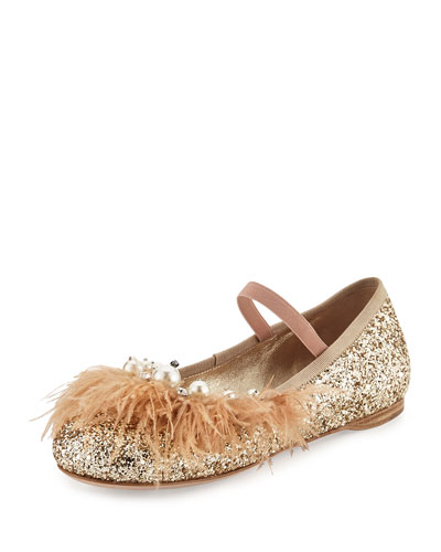 Feather-Trim Glitter Ballerina Flat