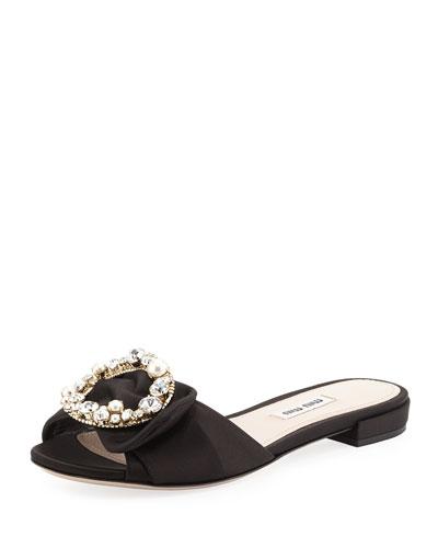 Satin Jewel-Buckle Slide Sandal, Black