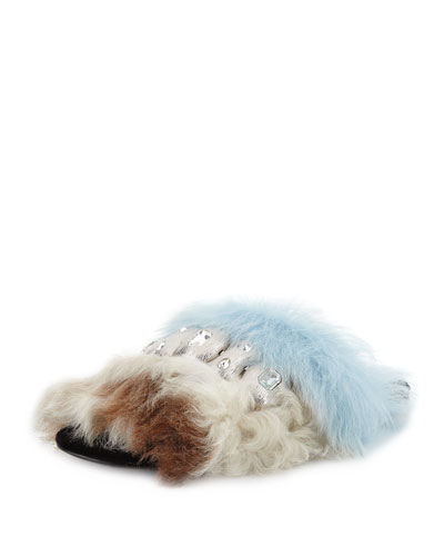 Jeweled Colorblock Shearling Fur Flat Sandal