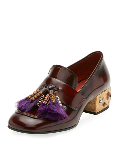 Leather Embellished Tassel Loafer