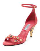 Jeweled Suede Sandal, Pink