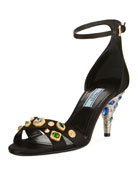 Jeweled Satin Sandal