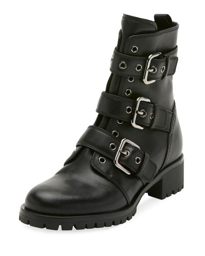 Leather Buckle Combat Bootie, Black