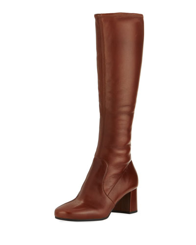 Leather 55mm Knee Boot, Brown