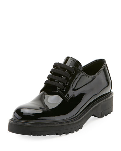 Patent Lace-Up Platform Oxford