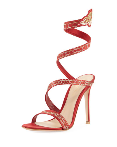 Snake Coiled Satin Embellished Sandal, Red