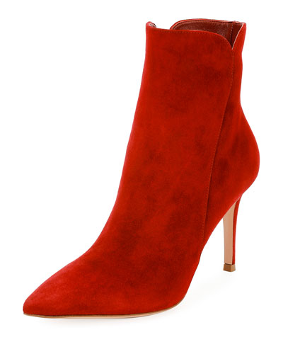 Suede 85mm Point-Toe Bootie, Red