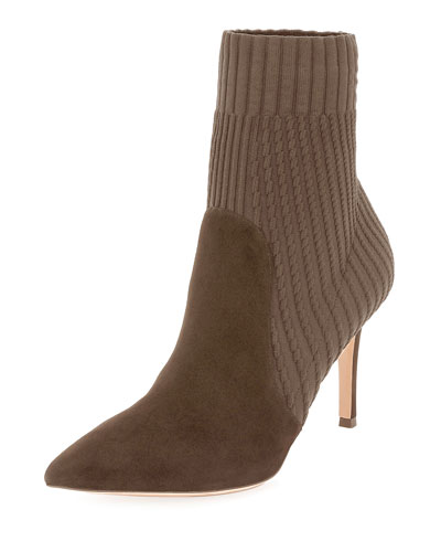 Suede Sock Bootie, Taupe