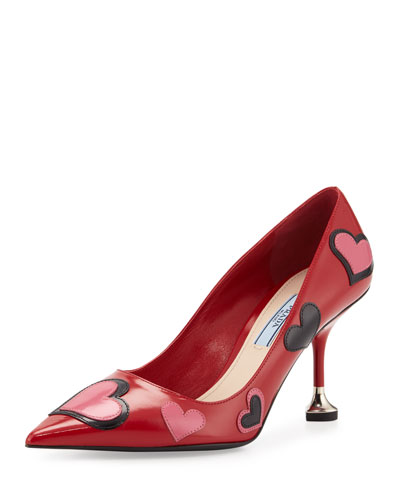 Heart-Appliqué Pointed-Toe 85mm Pump, Scarlet (Scarlatto)