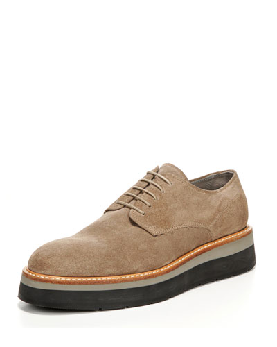 Drystan Suede Platform Oxford, Wood Smoke