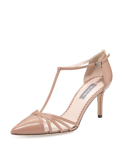 Carrie Leather T-Strap 70mm Pump, Camel