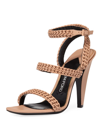 Chain Strappy 105mm Sandal, Beige