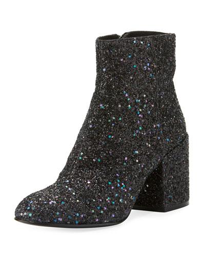 Egoiste Galaxi Glitter Zip Bootie, Midnight