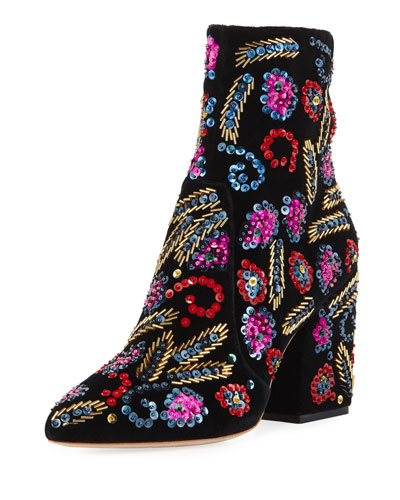 Isla Sequin-Embroidered Block-Heel Bootie