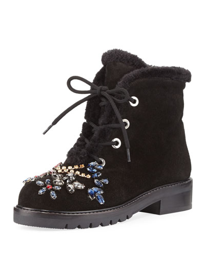 Bejeweled Combat Boot