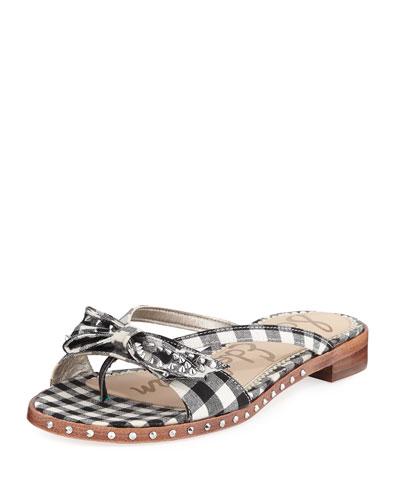 Dariel Plaid Stud Flat Flip-Flop Sandal
