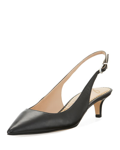 Ludlow Leather Kitten-Heel Slingback Pump