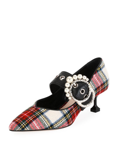 Tartan Plaid Buckle 55mm Pump, White