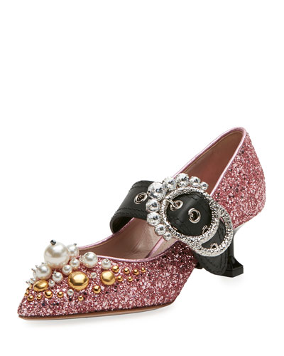 Glitter Buckle 55mm Pump