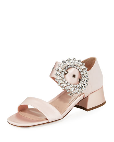 Satin Crystal-Embellished 35mm Sandal