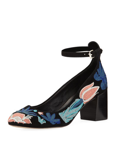 Bridget Too Embroidered Suede Pump