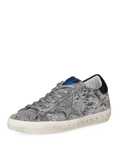 Superstar Glittered Platform Sneaker, Silver