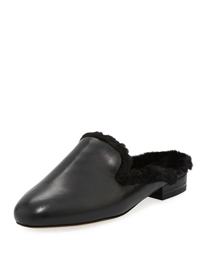 Natasha Flat Faux-Fur Mule Loafer