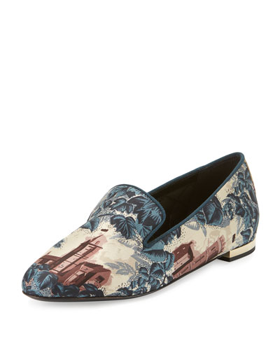 Mormont Castle-Print Fabric Loafer, Airforce Blue