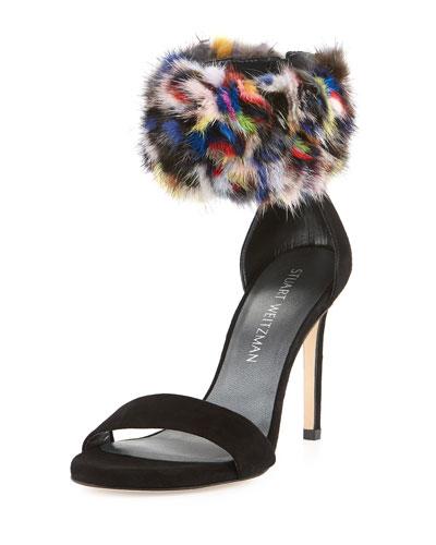 Snowbiz Mink Fur-Cuff Suede Sandal