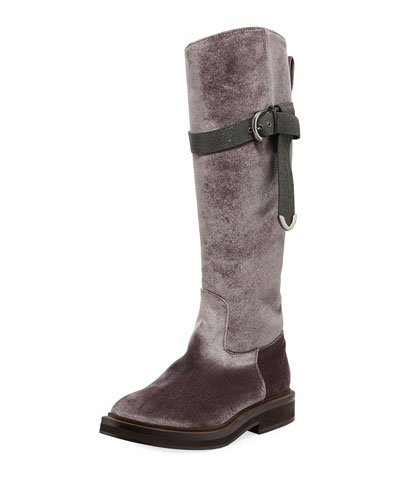 Velvet Riding Boot w/ Monili Strap