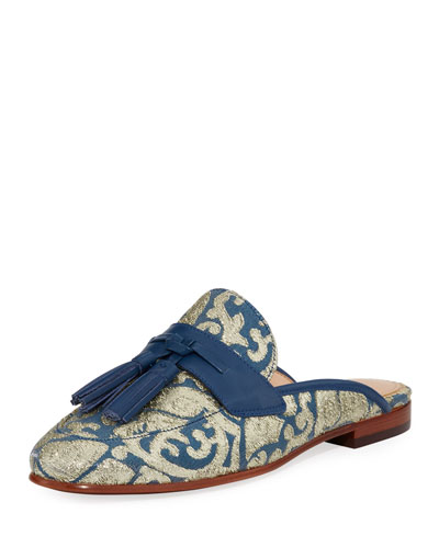 Paris Jacquard Tassel Mule Loafer