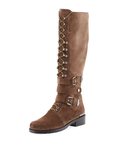 PoliceLady Velour Knee-High Boot