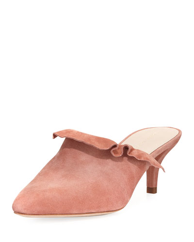 Berkley Ruffled Suede Point-Toe Mule