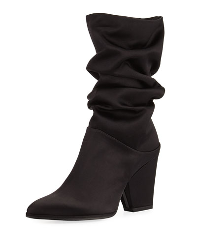 Crush Scrunch Satin Ankle Boot